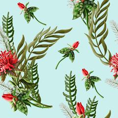 Fototapeta Egzotyczne Seamless pattern with tropical flowers.