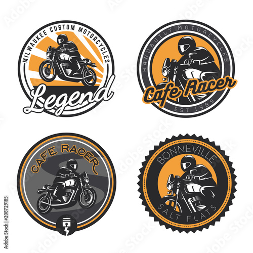 Tablou Canvas Set of retro motorcycle round emblems and badges isolated on white background
