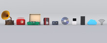 3D Illustration Of Music Player Evolution