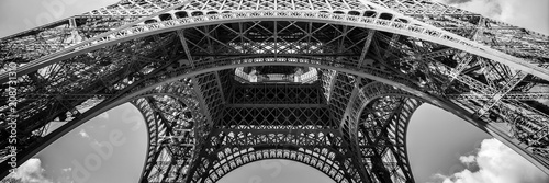 Obraz Abstract panorama of the Eiffel tower, Paris France - fototapety do salonu