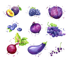 Assortment Of Purple Foods, Watercolor Fruit And Vegtables