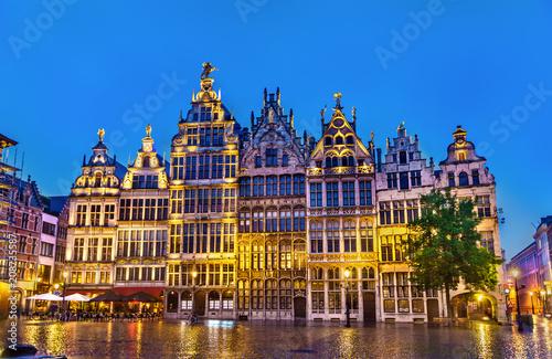 Poster Antwerpen Guildhalls on the Grote Markt Square in Antwerp, Belgium