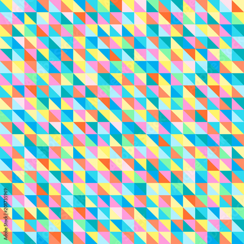 Seamless Triangle Pattern Multicolored Background Checkered