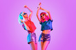 canvas print picture - Two DJ Girl Hipster with Fashion Hairstyle Dance.