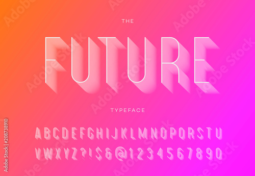 Obraz Future trendy typeface with shadow. Font modern typography sans serif style for t shirt, promotion, party poster, logo, concept, sale banner, printing, decoration, stamp. Vector 10 eps - fototapety do salonu