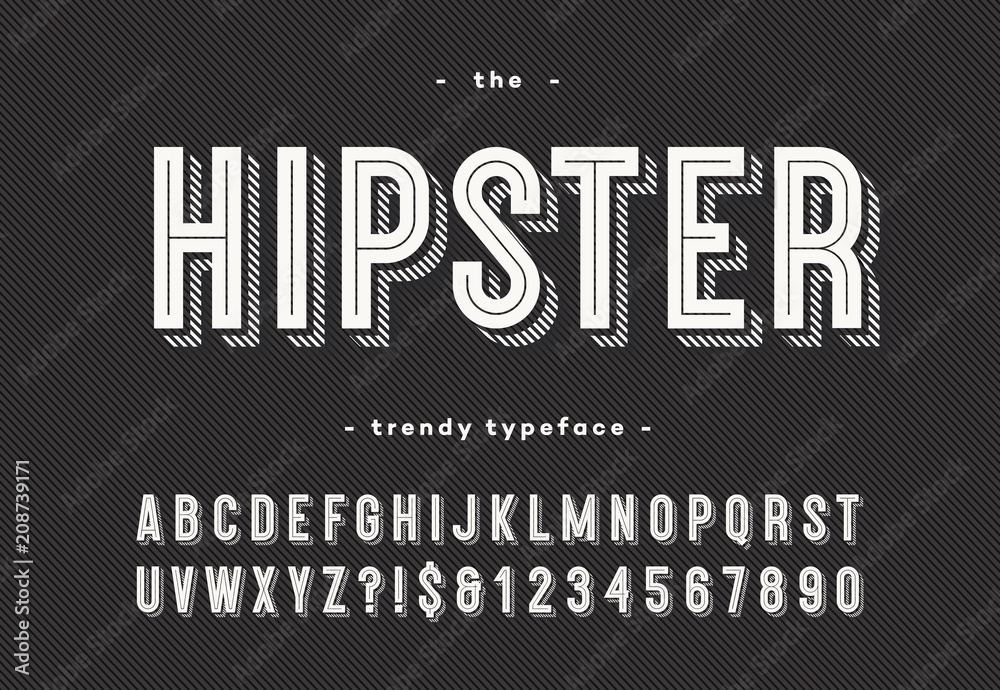 Fototapeta Hipster trendy typeface bold 3d style. Cool font. Alphabet modern typography for party poster, t shirt, promotion, label, special offer. Vector Illustration 10 eps
