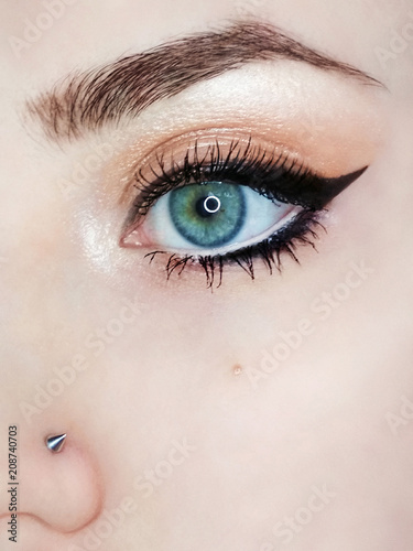 Foto op Plexiglas Beauty Eye make-up eyebrow eyeliner lash cosmetic swatch fashion macro photo