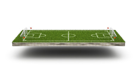 Green grass 3d soccer field and football field background. Football stadium game 3d object area. Perspective view of soccer field. 3d rendering