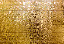 Luxury Gold Mosaic Tiles Background For Bathroom Or Toilette Texture.
