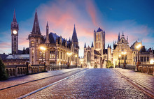 Belgium Historic City Ghent At...
