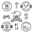 Farm fresh products vector labels, badges, emblems