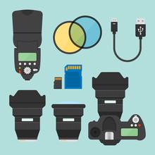 Photography Equipments Vector Flat Design Elements