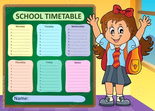 Deurstickers Voor kinderen Weekly school timetable design 7