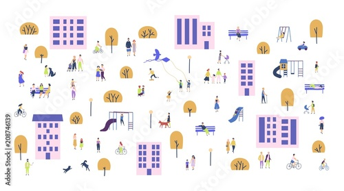 Crowd of tiny people walking with children or dogs, riding bicycles, sitting on bench in city suburbs. Cartoon men and women performing outdoor activities on suburban street. Vector illustration