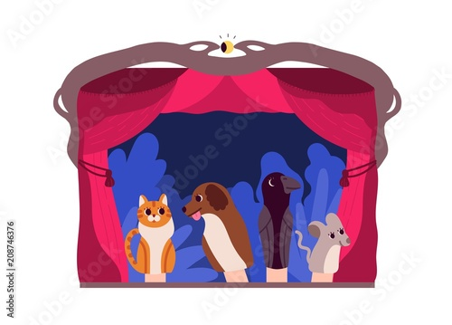 Hand puppets or animals manipulated by puppeteer at theater stage isolated on white background Canvas Print