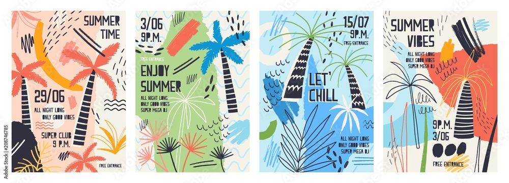 Fototapeta Collection of invitation or poster templates decorated with tropical palm trees, paint stains, blots and scribble for summer open air dance party. Vector illustration for summertime event promotion.