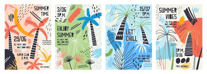 Collection of invitation or poster templates decorated with tropical palm trees, paint stains, blots and scribble for summer open air dance party. Vector illustration for summertime event promotion.