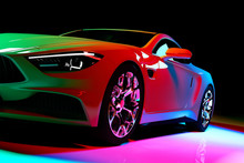 Modern Coupe Car In Colorful S...