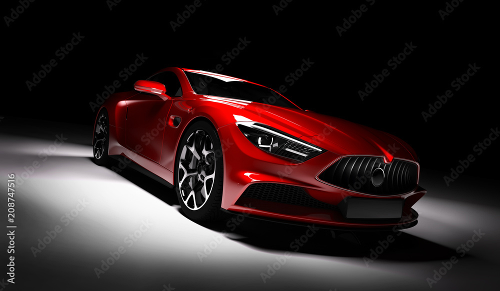 Fototapety, obrazy: Modern red sports car in a spotlight on a black background.
