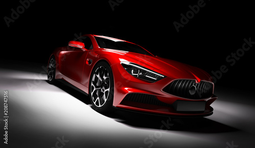 fototapeta na lodówkę Modern red sports car in a spotlight on a black background.