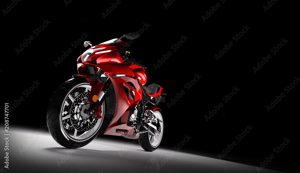 Fototapeta Front view of red sports motorcycle in a spotlight