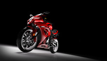 Front View Of Red Sports Motor...