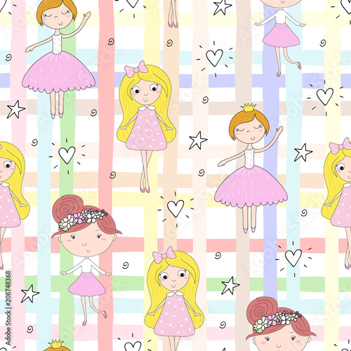 Staande foto Hoogte schaal cartoon positive seamless pattern with cute girls