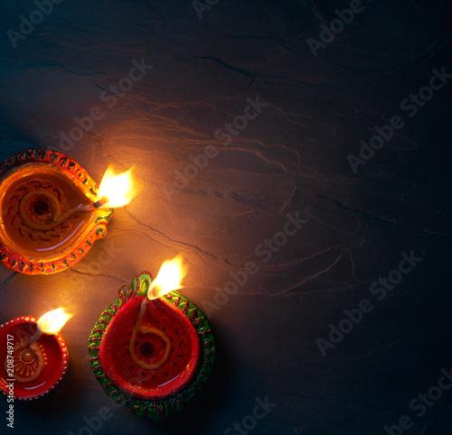 Diya lamps lit during diwali celebration, top view