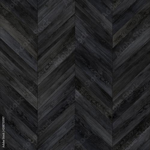 Obraz Seamless wood parquet texture chevron dark  - fototapety do salonu