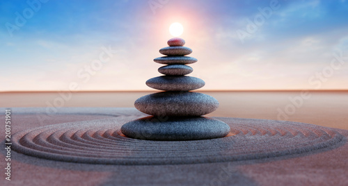 Door stickers Stones in Sand Steinturm mit Sonne