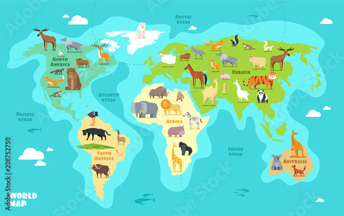Cartoon world map with animals, oceans and continents Wallpaper Mural