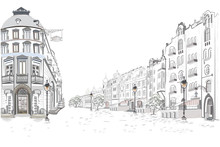 Series Of Street Views In The Old City. Hand Drawn Vector Architectural Background With Historic Buildings.