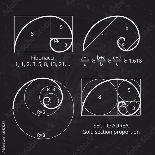 Photo Scheme of golden ratio section, fibonacci spiral on blackboard vector illustrati