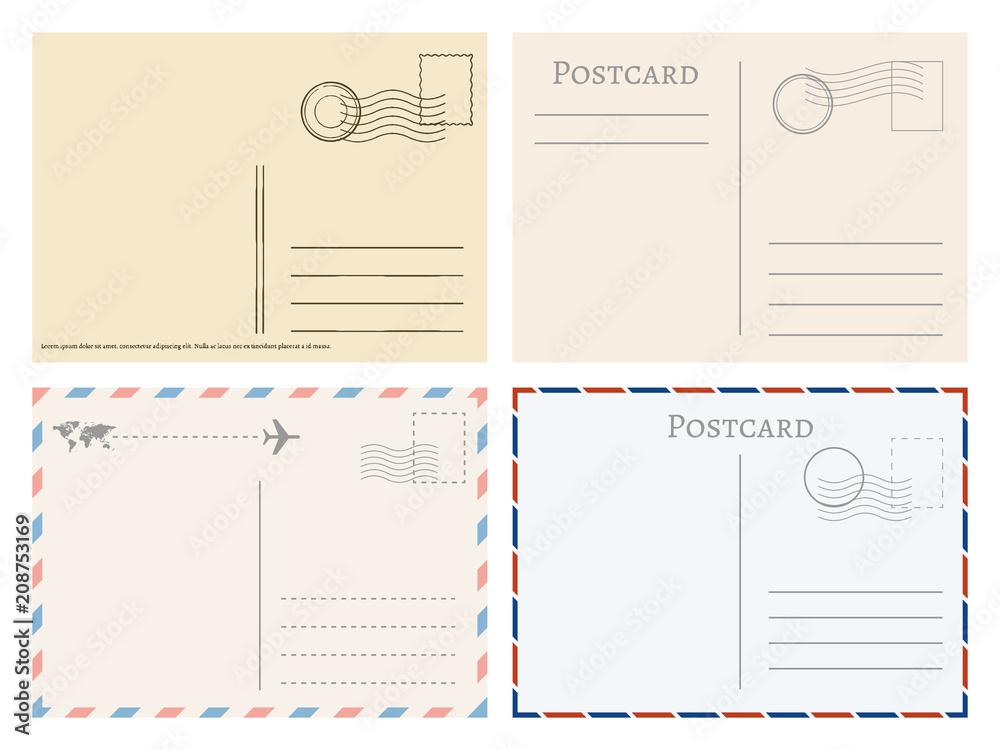 Fototapeta Vintage paper postal cards. Greetings from postcard vector template