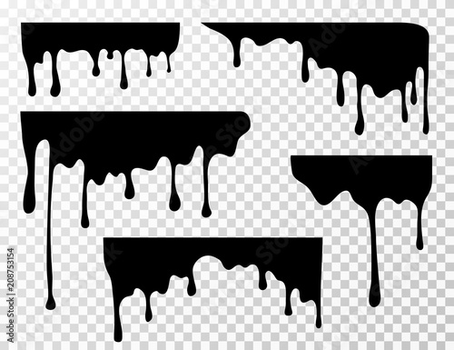 Fototapety, obrazy: Black dripping oil stain, sauce or paint current vector silhouettes isolated