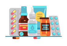 Medical Pills And Bottles. Hea...