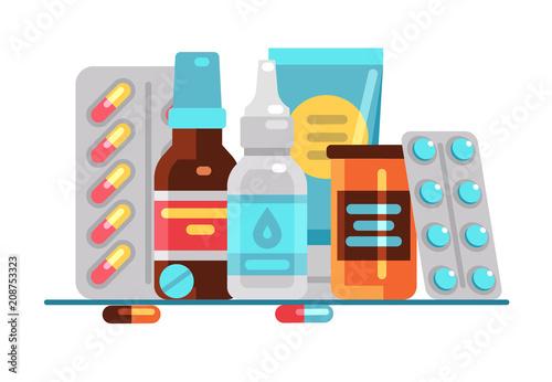 Fotografia  Medical pills and bottles
