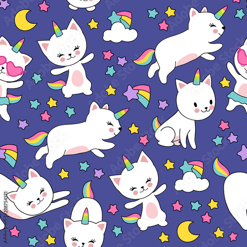 obraz PCV Cute cats unicorn vector seamless pattern for kids textile print