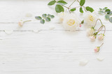 Fototapeta Kwiaty - roses on white wooden background