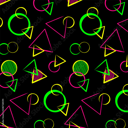 Abstract bauhaus geometric ornament, seamless pattern for printing on textiles, плакат