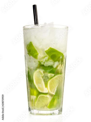 Fotobehang Cocktail Caipirinha mit weissem Rohrzucker