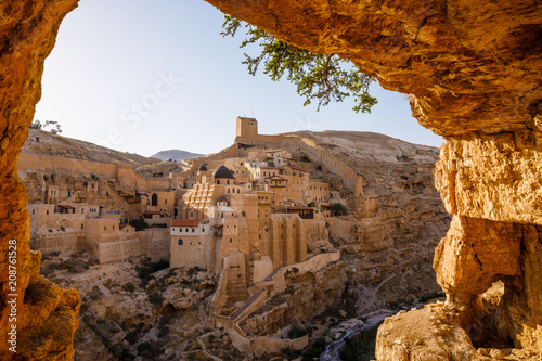 Fotografia Mar Saba an Eastern Orthodox Christian monastery in Kidron Valley in Palestine