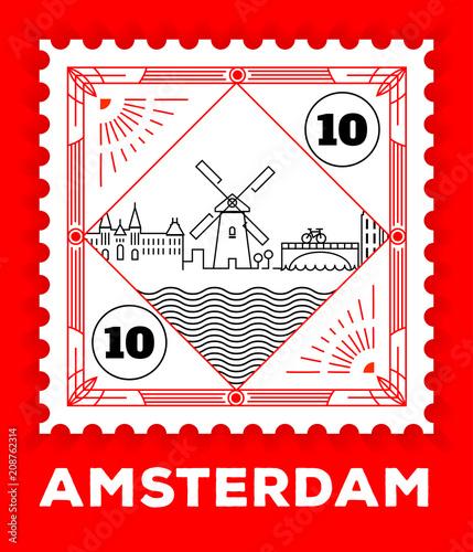 Photo  Amsterdam City Line Style Postage Stamp Design