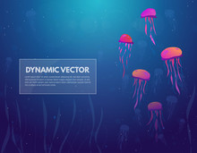 Underwater Sea Background. Diving And Swimming Jellyfish In Water Column. Gradient Background Of Blue Water And Light From Above. Glowing Circles In Water. Text Banner For Nautical Theme.