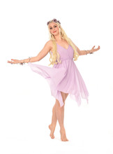 Full Length Portrait Of Pretty Blonde Girl Wearing Purple Fairy Dress. Standing Pose, Isolated On White Studio Background.