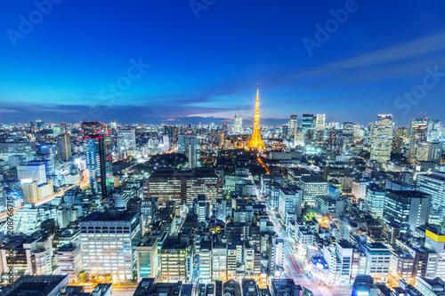 Foto op Aluminium Nacht snelweg skyline of modern city tokyo