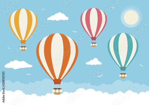 Fotografie, Obraz Cartoon Vector Hot Air Balloons