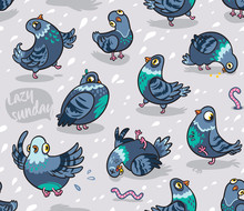 Seamless Pattern With Cartoon ...