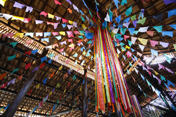 Colorful banners and junina party decoration