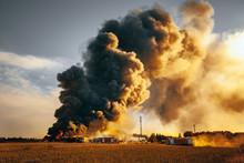 Building Fire Among Fields And Huge Smoke Cloud